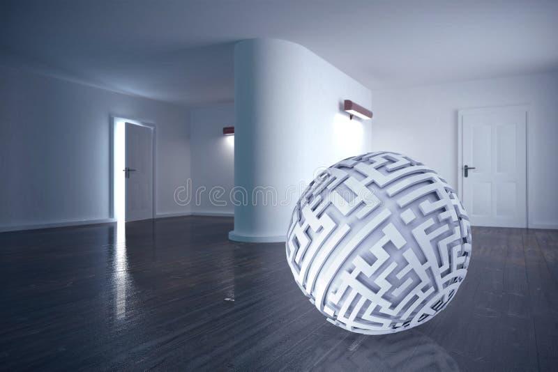Составное изображение шарика лабиринта иллюстрация вектора