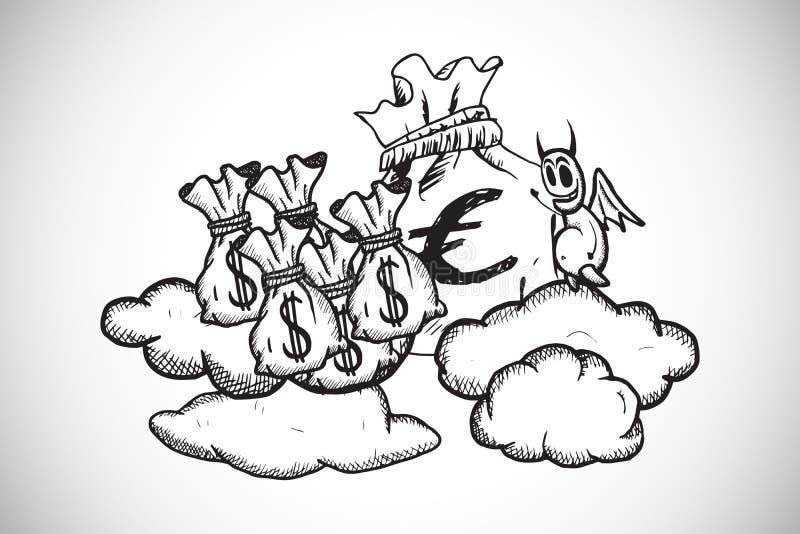Составное изображение дьявола с сумками денег doodle иллюстрация вектора