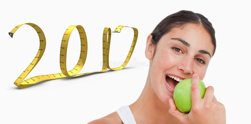 составное изображение 3D конца вверх по брюнет есть зеленое яблоко стоковые фотографии rf