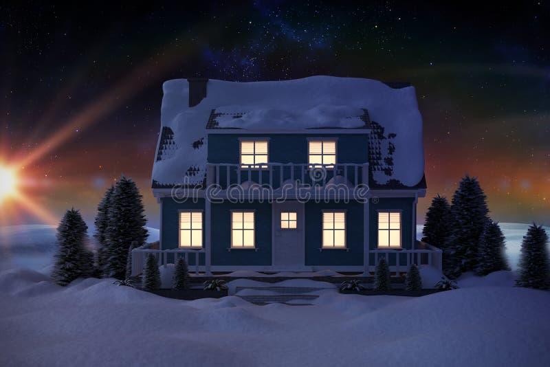 Составное изображение 3D осветило дом предусматриванный в снеге иллюстрация вектора
