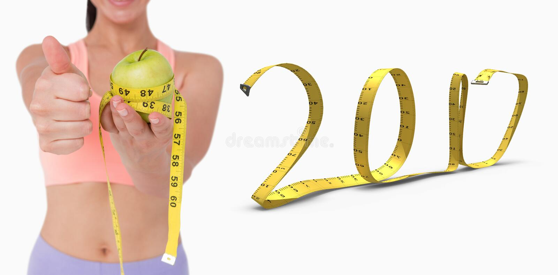 составное изображение 3D тонкой женщины держа яблоко с измеряя лентой стоковая фотография