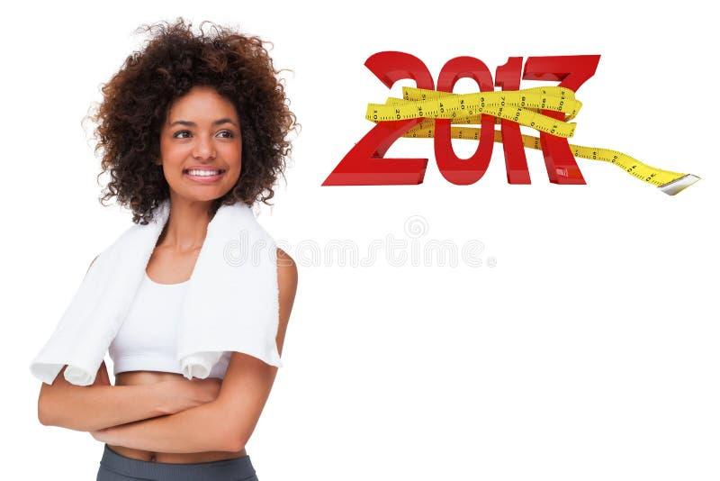 составное изображение 3D усмехаясь подходящей молодой женщины с полотенцем стоковые изображения