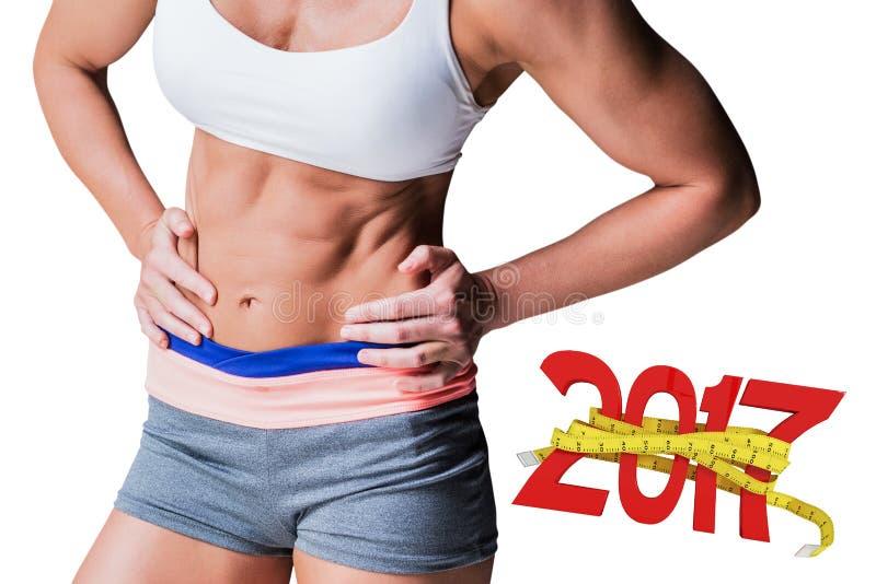 составное изображение 3D midsection мышечной спортсменки стоковые изображения