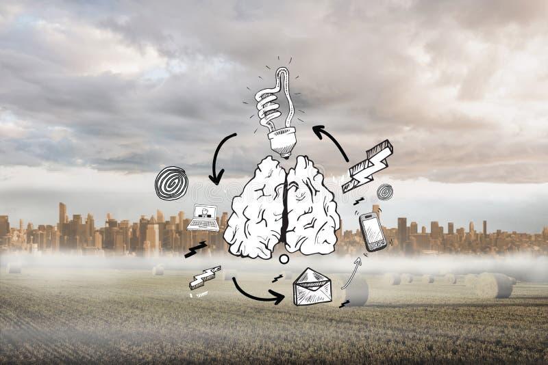 Составное изображение doodle схемы технологического процесса идеи стоковая фотография