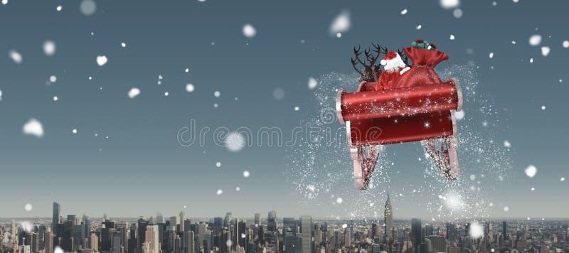 Составное изображение santa летая его сани бесплатная иллюстрация