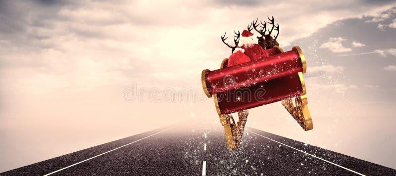 Составное изображение santa летая его сани иллюстрация штока