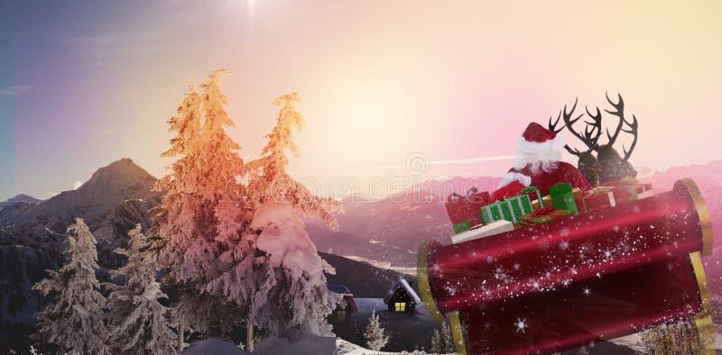Составное изображение santa летая его сани иллюстрация вектора