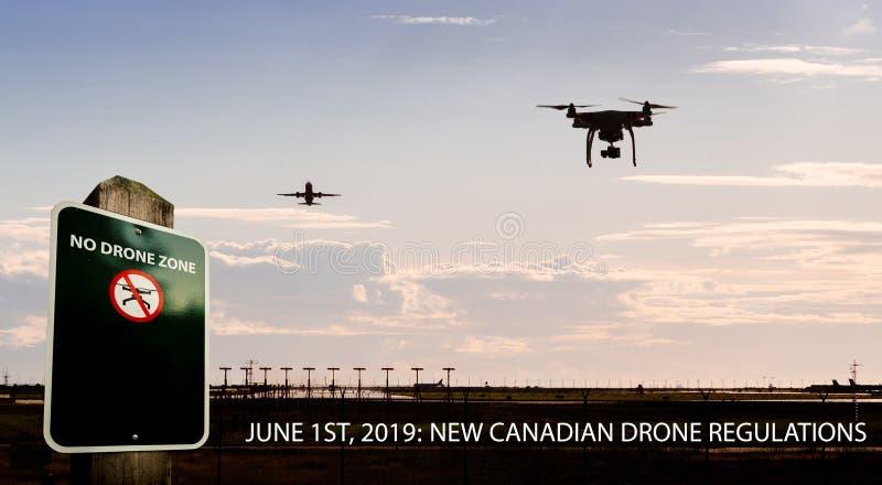 Составное фото летания трутня около аэропорта с никаким знаком трутня и текста для новых канадских регулировок трутня стоковое изображение rf