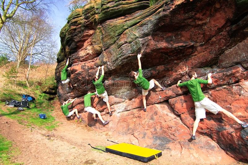 Составное фото скалолазания человека outdoors стоковое фото rf