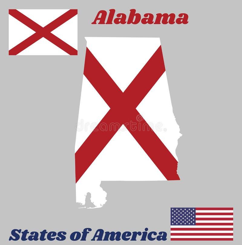 Составьте карту план и флаг Алабамы, положения Америки, красного saltire ` s St Andrew в поле белизны иллюстрация штока