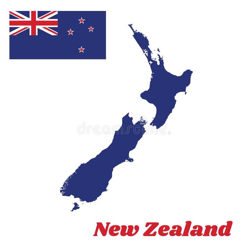 Составьте карту план и флаг Новой Зеландии, голубой Ensign с южным крестом 4 бело-окаимил красные центризованные пятиконечные зве бесплатная иллюстрация