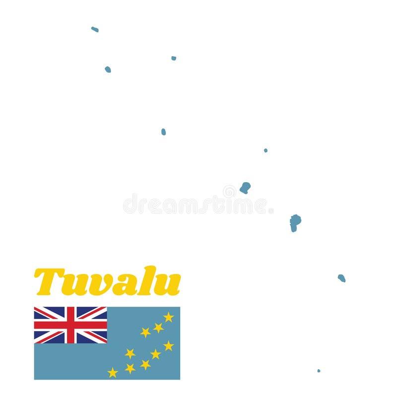 Составьте карту план и флаг Тувалу, света - голубого Ensign с картой острова 9 желтых звезд на наружной половине флага иллюстрация вектора