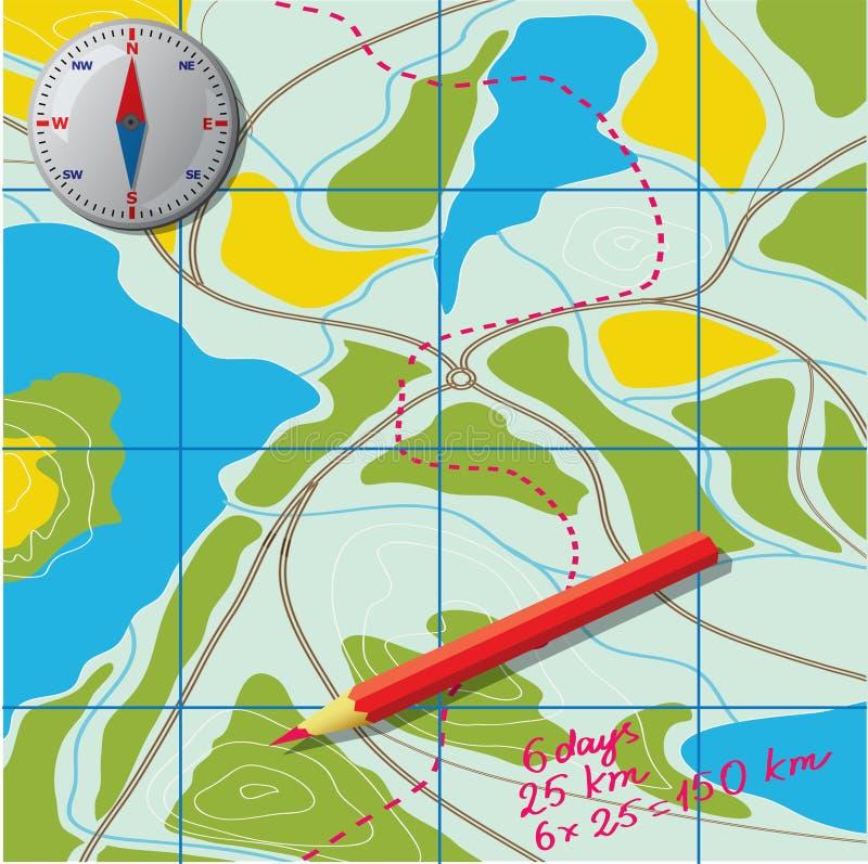 Составьте карту для того чтобы развить трассу иллюстрация вектора