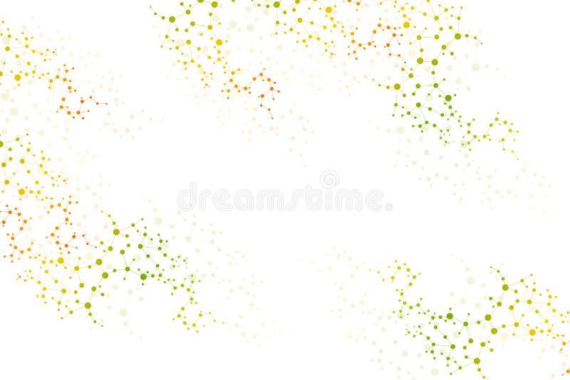 Составьте молекулу и дна связи, атом, нейроны Концепция науки для вашего дизайна Соединенные линии с точками иллюстрация штока