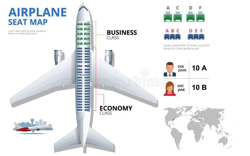 Составьте схему месту самолета, плану, пассажира воздушных судн Воздушное судно усаживает взгляд сверху плана Самолет дела и экон иллюстрация вектора