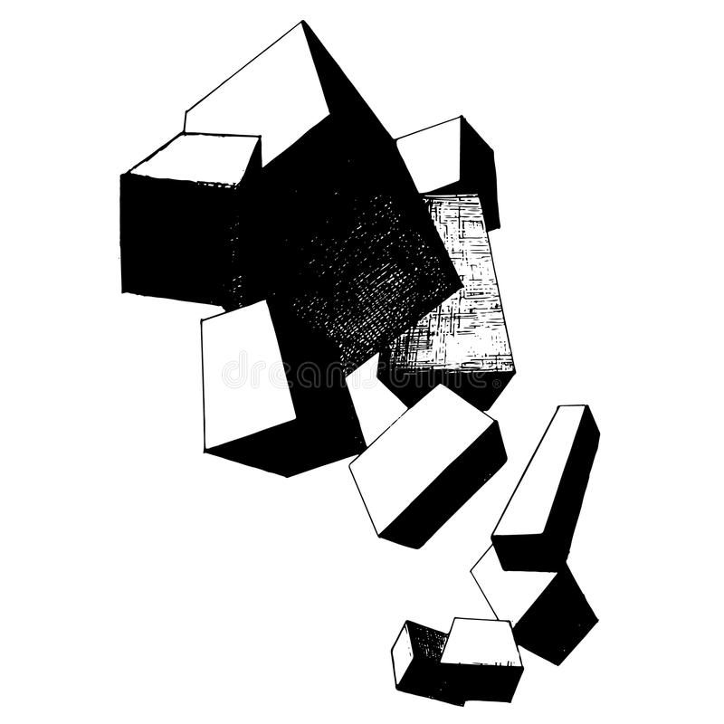Состав абстракции Cubs в черной белизне конца иллюстрация вектора