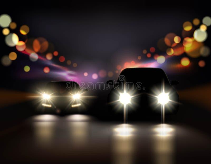 Состав автомобилей езды ночи иллюстрация вектора