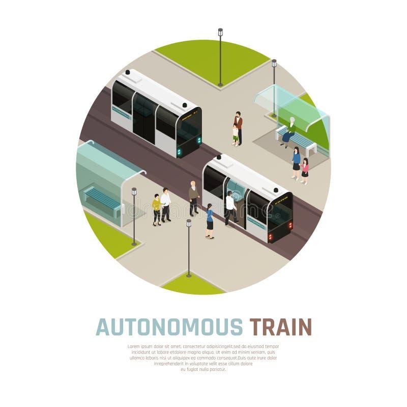 Состав автономного поезда равновеликий иллюстрация вектора