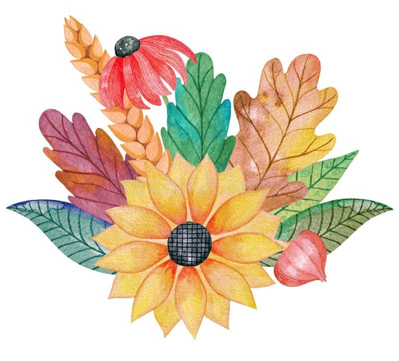 Состав акварели красочный цветков и листьев счастливое благодарение Здравствуйте! осень стоковая фотография rf