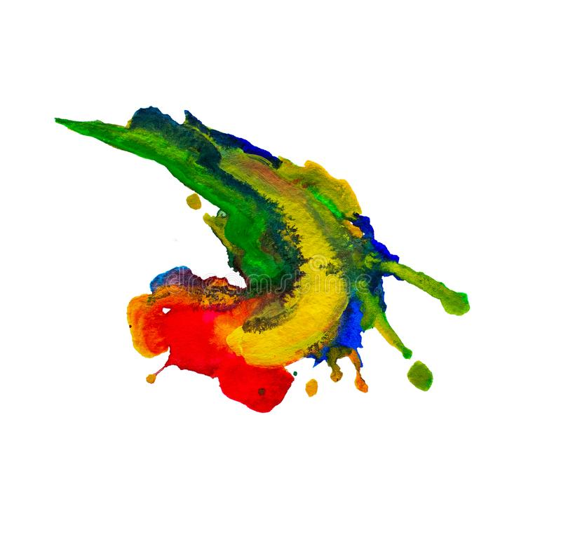 Состав акварели мазков зеленых и желтых, красных и голубых, brushstroke краски как изолированный образец продукта искусства, Для  иллюстрация вектора