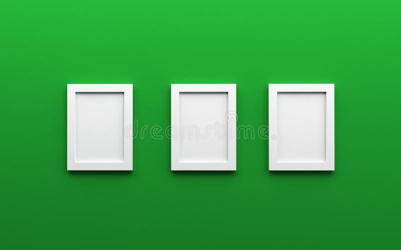 Состав 3 белых пустых рамок фото на зеленом backgroun стоковое фото rf