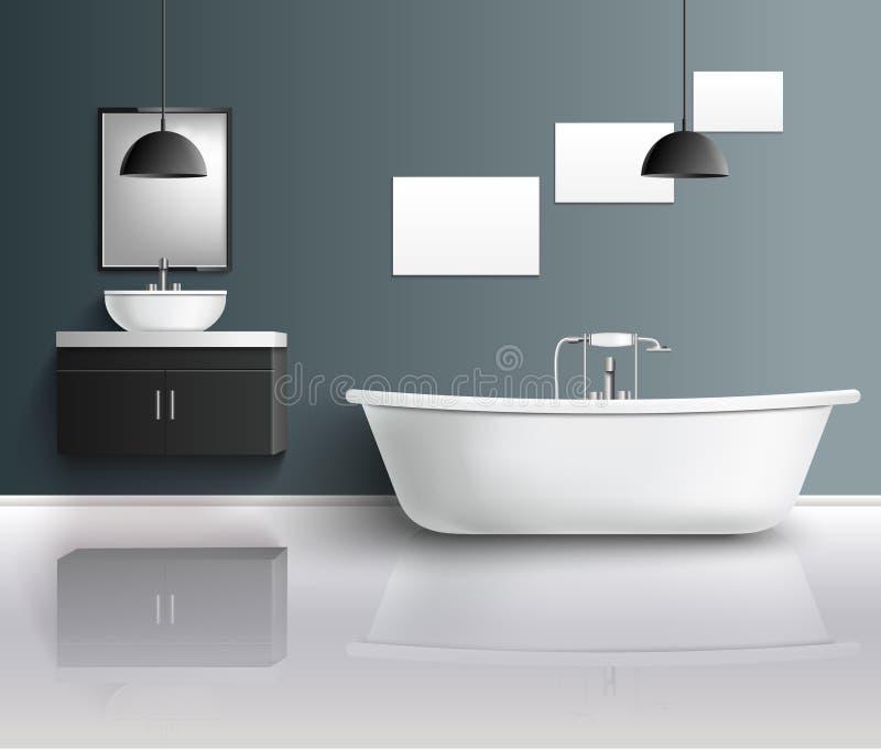 Состав ванной комнаты реалистический внутренний иллюстрация штока