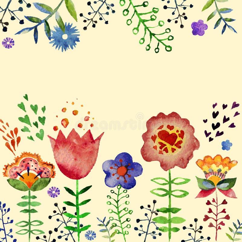 Состав вектора с милыми цветками акварели иллюстрация вектора