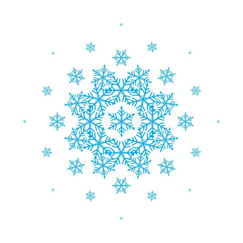 Состав вектора с снежинками для дизайна зимы рождество украшает идеи украшения свежие домашние к белизна изолированная предпосылк иллюстрация вектора