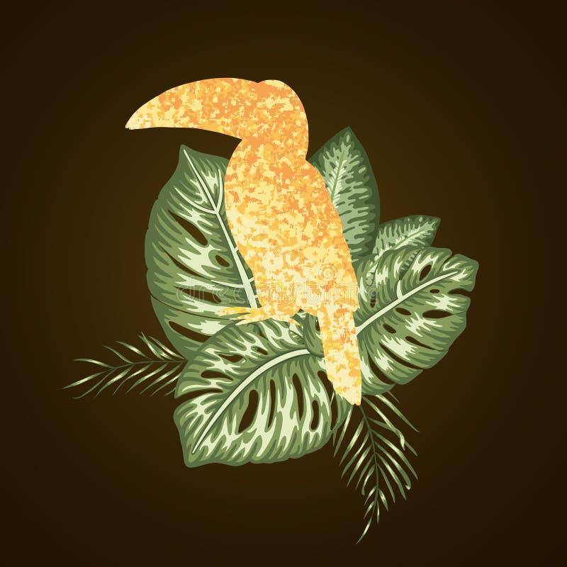 Состав вектора тропический листьев monstera и пальмы иллюстрация вектора