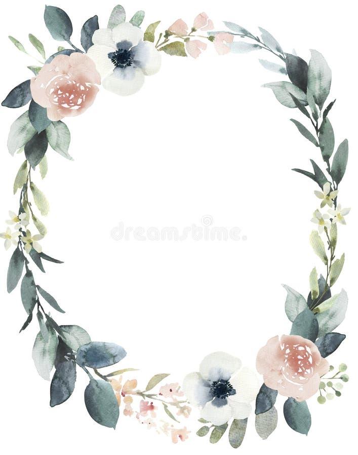Состав венка свадьбы акварели флористический с краснеет розы иллюстрация вектора