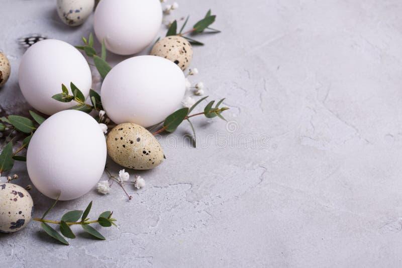 Состав весны пасхи декоративный с триперстками пасхи, яичками цыпленка и sprigs лист евкалипта на конкретной предпосылке стоковая фотография