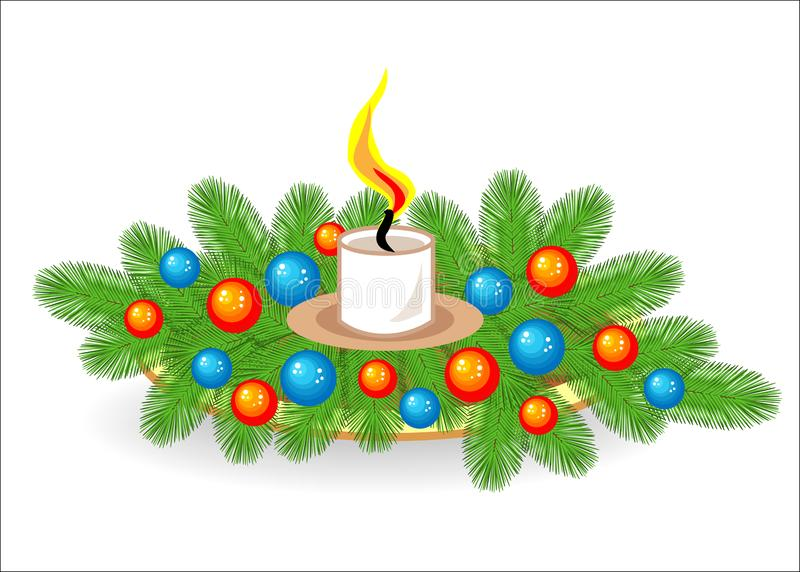 Состав ветвей рождественской елки Традиционный символ Нового Года r Украшенный с яркими игрушками, иллюстрация штока