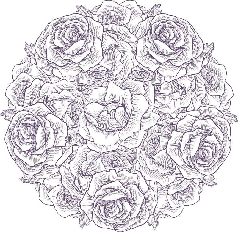 Состав винтажного вектора флористический бесплатная иллюстрация