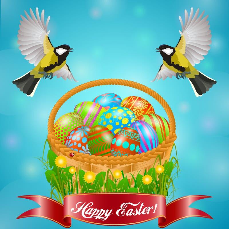 Состав в день святой пасхи с синицами и корзиной с покрашенными яйцами Для предпосылки или открытки бесплатная иллюстрация