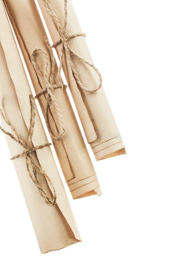 Состав года сбора винограда свернул изолированные документы на белизне стоковое изображение rf