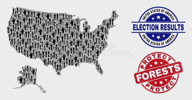 Состав голосования США с картой Аляски и поцарапанных для защиты лесов проштемпелевать иллюстрация вектора