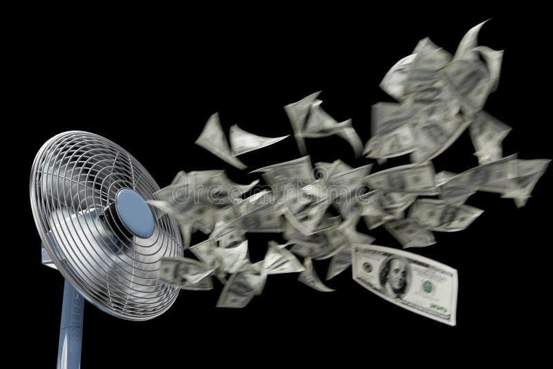 Состав дела предпосылки концепции вентилятора и денег замотки на изоляте чернит стоковые изображения