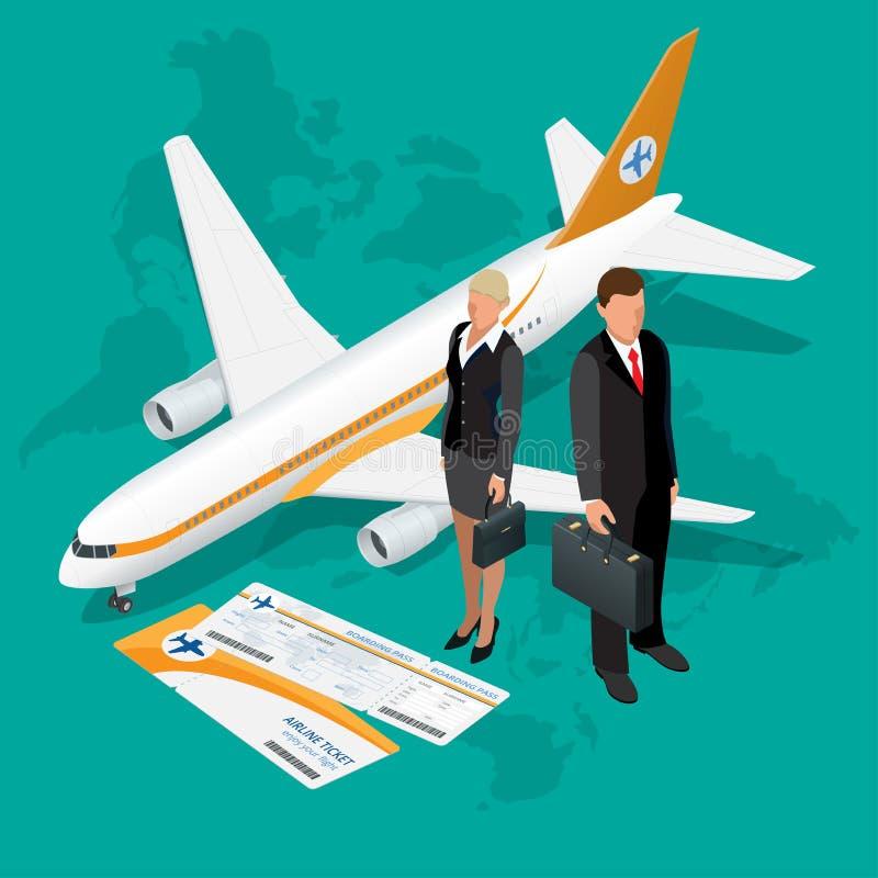 Состав деловых поездок равновеликий Предпосылка перемещения и туризма Плоская иллюстрация вектора 3d Дизайн знамени перемещения иллюстрация вектора