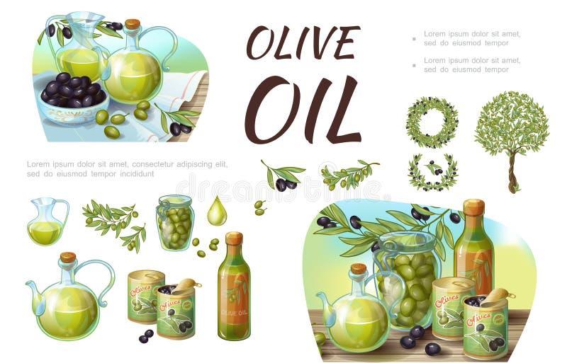 Состав зеленой и черной оливки шаржа бесплатная иллюстрация