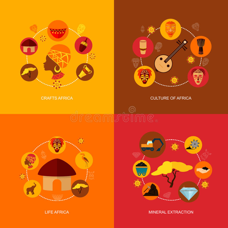 Состав значков Африки плоский иллюстрация штока