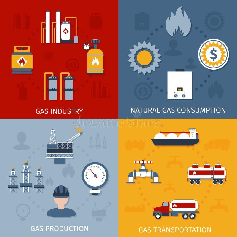 Состав значков газовой промышленности плоский иллюстрация вектора