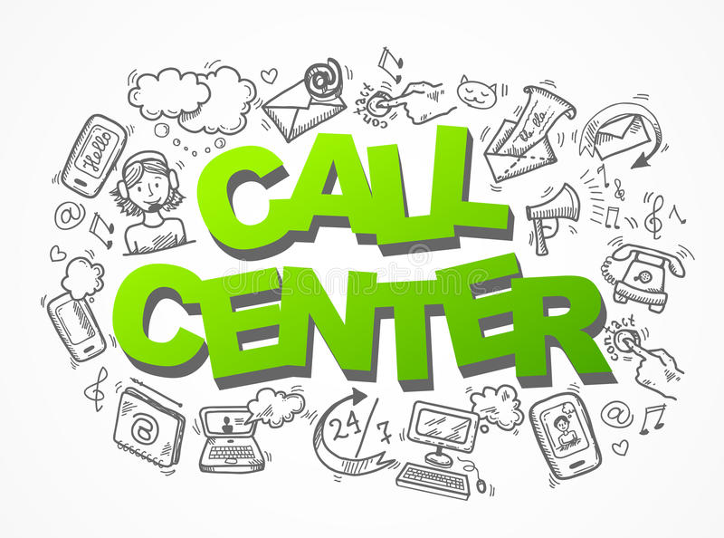 Состав значков эскиза центра телефонного обслуживания иллюстрация штока