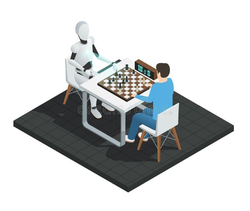 Состав искусственного интеллекта равновеликий иллюстрация вектора