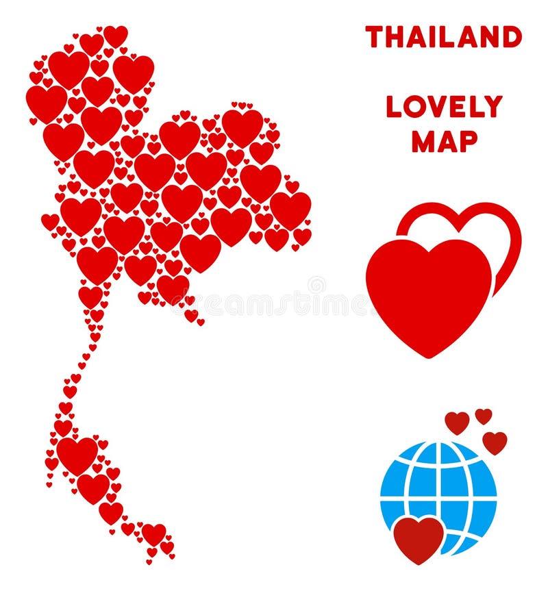 Состав карты Таиланда вектора симпатичный сердец иллюстрация штока