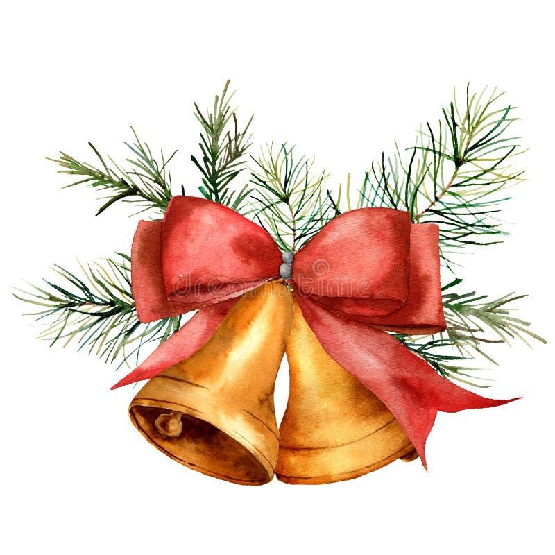Состав колоколов рождества акварели Рука покрасила колоколы золота традиционные с красными изолированными ветвями ленты и сосны иллюстрация штока