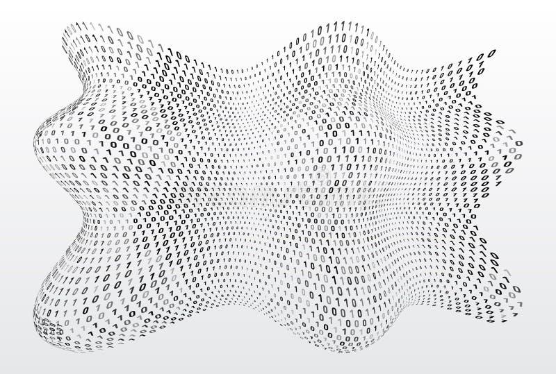 Состав команд вычислительной машины подачи цифров на белой предпосылке Концепция вектора передачи данных иллюстрация вектора