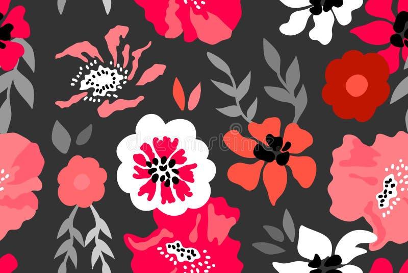 Состав красного цвета, розовых и серых флористический иллюстрация штока