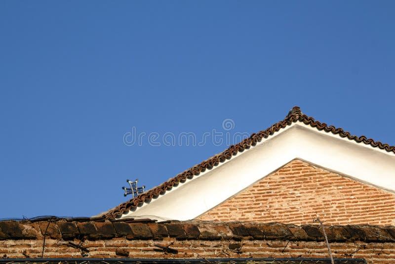 Состав крыш против предпосылки голубого неба стоковое изображение rf
