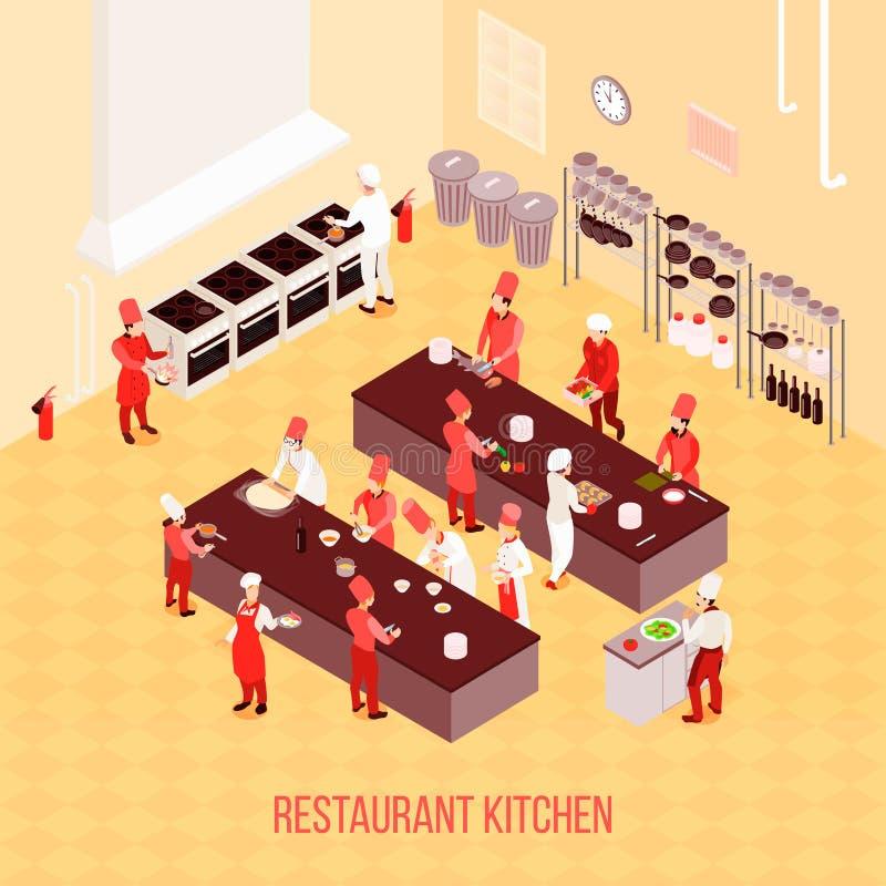 Состав кухни ресторана равновеликий иллюстрация вектора
