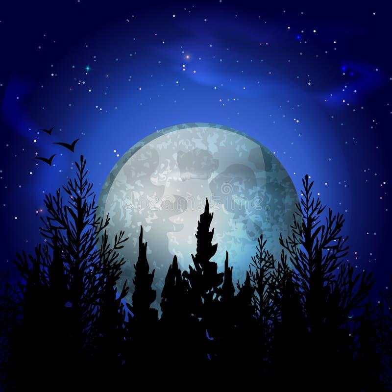 Состав луны леса реалистический иллюстрация вектора